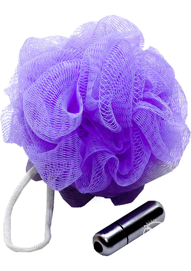Sex In The Shower Vibrating Mesh Sponge With Bullet Purple